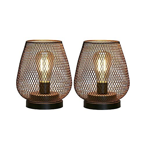 JHY DESIGN Juego de 2 lámparas de mesa de jaula metálica con pilas, luz de acento inalámbrica con bombilla LED estilo Edison. Ideal para bodas, fiestas, patio, eventos para interiores y exteriores.