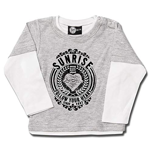 Sunrise Avenue (Follow Your Heart) - Baby Skater Shirt Farbe grau Melange/weiß - schwarz, Größe 62
