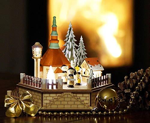 Villaggio con mercatino di Natale di Seiffen illuminato con luci a LED, compreso trasformatore