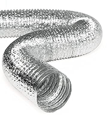 Aluminum Hose Flexible Insulated/Un-Insulated Air Duct Pipe for Rigid HVAC Flex Ductowrk Insulation - 25' Feet Long