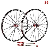 Mountain Bike Wheelset 26/27.5/29 Inches, MTB Bicycle Rear Wheel Double Walled Aluminum Alloy Rim Disc Brake Carbon Fiber Hub Quick Release 7/8/9/10/11 Speed Cassette,Red,26in