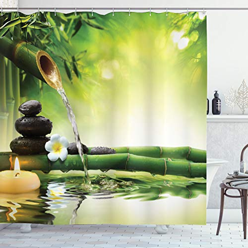Ambesonne Spa Shower Curtain, Meditation and Picture of Bamboo Stalks Candle and Basalt Stones Theraphy Relaxing, Cloth Fabric Bathroom Decor Set with Hooks, 70' Long, Multicolor