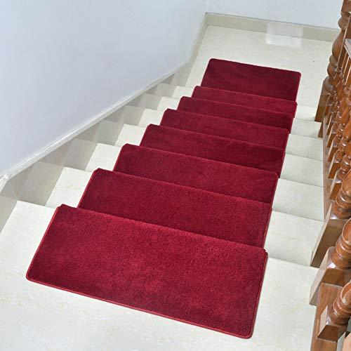 JYMSB Tappeti per Scale Coprigradini Fonoassorbenti A Medio Spessore, Vari Colori E Misure,per Gradini - Tappetino Antiscivolo E Fonoassorbente con Retro Adesivo Red 80 * 24cm