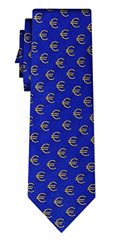 Cravate soie euro signs all over royal blue