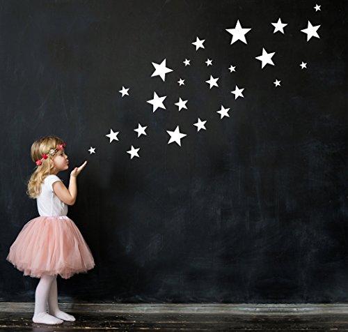 25 Sterne Wandtattoo fürs Kinderzimmer - Wandsticker Set - Pastell Farben, Baby Sternenhimmel zum Kleben Wandaufkleber Sticker Wanddeko - Wandfolie, Kleinkinder, Erstausstattung auf Rauhfaser Weiß