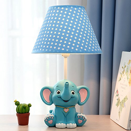 Kinder Tisch Lampe Schlafzimmer Nachttisch Lampe Cartoon Kreative Mode Junge Cute Little Elephant Geschenk kann abgeblendet werden (Farbe : Blau)