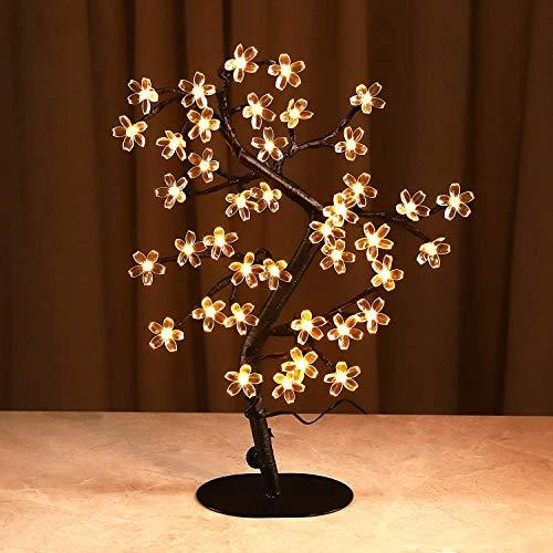 Lámpara de árbol de Flor de Cerezo-Lámpara de árbol Artificial-Lámpara de Mesa LED de 40L-Árbol de luz de espíritu de Hadas operado por batería o USB-Decoración Interior iluminada Treee