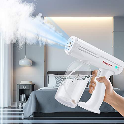 4YANG Máquina pulverizadora Pistola de Vapor Nano Pistola de desinfección con luz Azul Desinfectante para Máquina de nebulización en Aerosol Blanco Adecuado para Viajes, Escuela, jardín.
