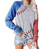 Baseball Pullover Tops Raglan Boutique Tops for Women Shirts Casual Crew Neck Blouse