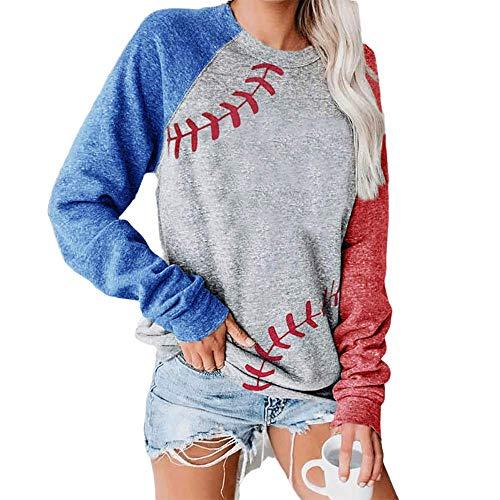 ATACT Sudaderas para Mujer Baseball Pullover Tops for Women Raglan Long Sleeve Sweatshirts Casual Crew Neck Blouse, A-gray, X-Large