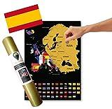 Global Walkabout ESPAÑOL - Mapa de scratch de países europeos con fondo de banderas - Regalo De Viaje -(negro)