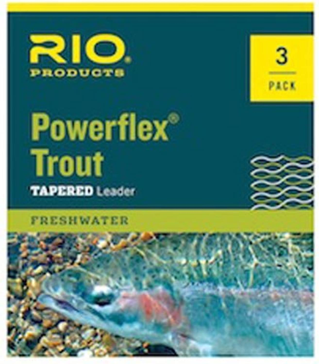 Rio Powerflex Trout Fly Fishing Leaders, 9 Foot  6 Pack