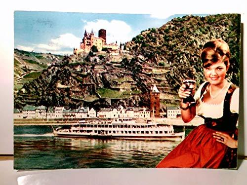 Burg Katz am Rhein. Alte AK farbig. gel. 1963. Panoramablick über den Ort zur Burg, Ausflugsschiff, Frau im Dirndl mit Weinschoppen