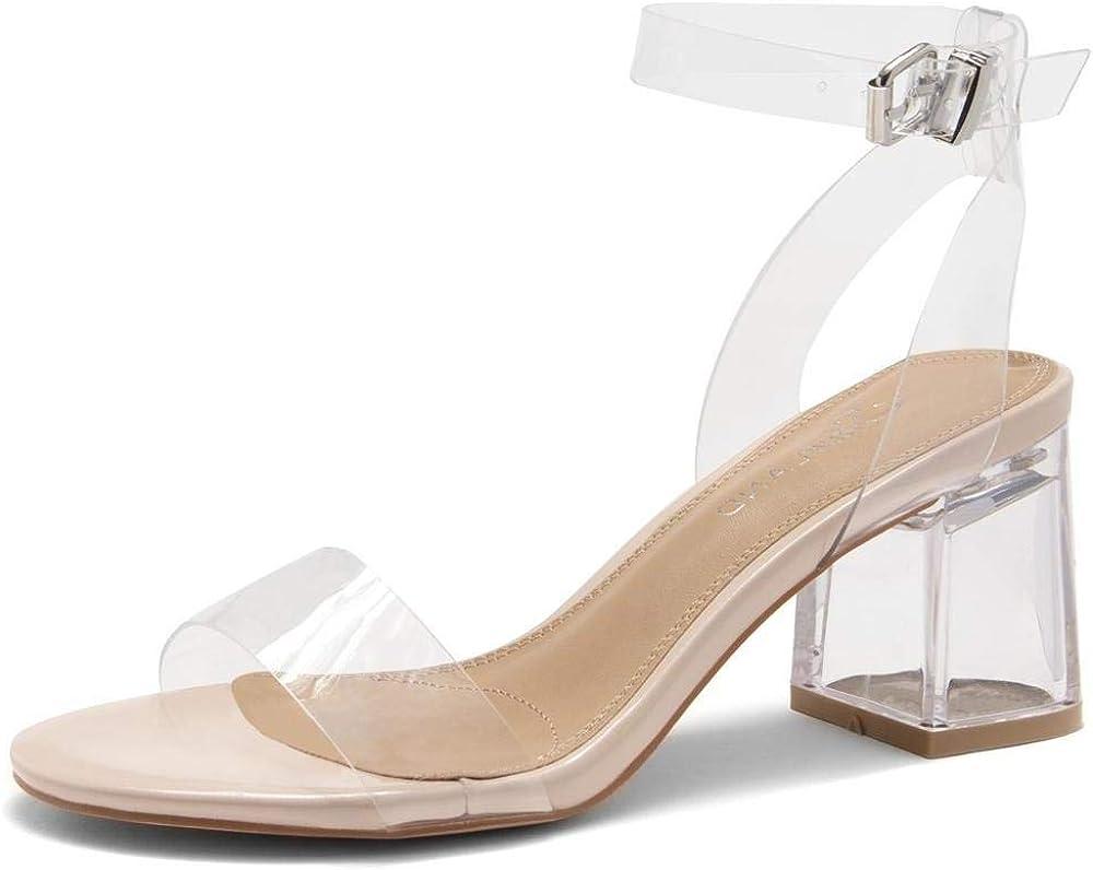 Shoe Land SL-AMAYA Women's Open Toe Ankle Strap Chunk Low Clear Heel Dress Pump Sandals