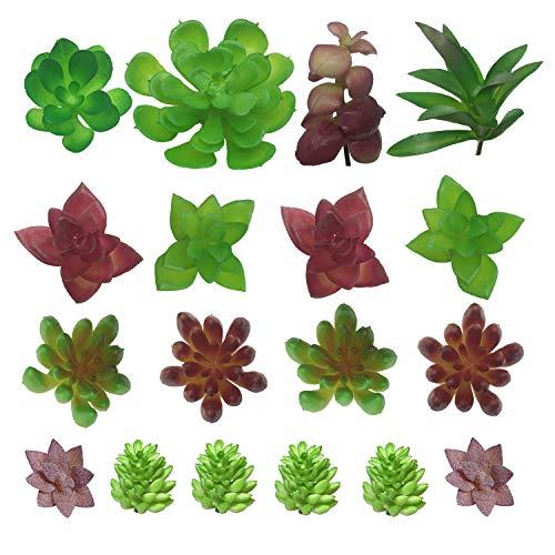 PietyDeko Suculentas Falsas, 18pcs Mini suculentas Artificiales y Ornamentos de Plantas de Cactus para la decoración de la Pared de Plantas Materiales de Bricolaje
