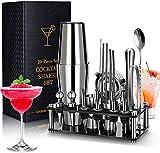 Chulovs Juego De Mezcla De Cócteles, 20 Piezas Juego De Coctelera Profesional Bar para Fiestas Bartender Accesorio Esencial Kit De De Inoxidable con con soporte acrílico Exhibición De