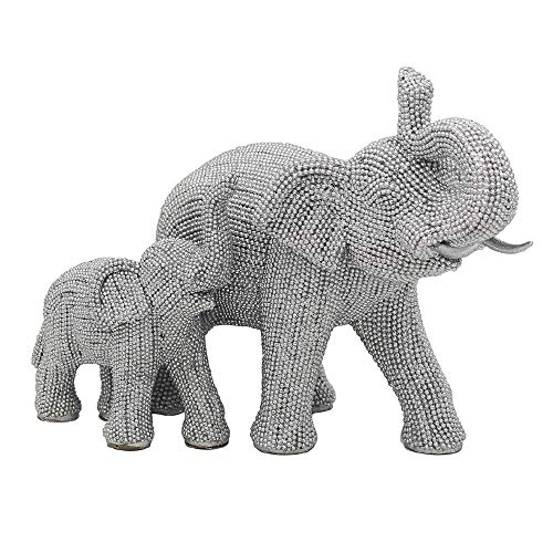 The Leonardo Collection Figura decorativa de elefante de pie con becerro, 25 cm