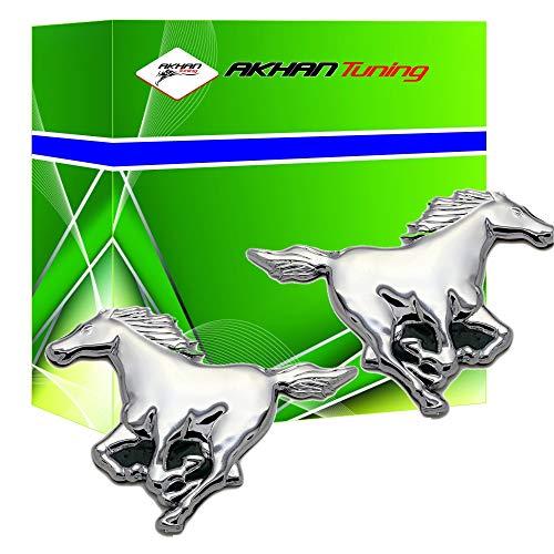 3D15027 - Emblema cromado 3D etiqueta insignia logotipo decorativo coche (3M autoadhesivo) Caballo (2 piezas) Horse