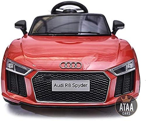 A la venta con descuento del 70%. ATAA CARS Audi R8 R8 R8 Spyder Licenciado 12v Asiento Piel, Ruedas de Goma - Coche eléctrico para Niños - rojo  alta calidad y envío rápido