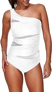 FeelinGirl Monokini para Mujeres con Uno/Dos Tirantes Traje de Baño de Una Pieza Bañador Liso Talla Grande