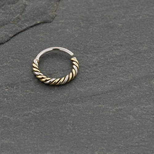 Septum Ring, Gold Twisted Wire Nose Ring Hoop, Unique Ethnic Boho Dainty Nose Piercing Earring, fits Tragus, Earlobes, Helix, Cartilage, 20g, Handmade Septum Piercing Jewelry