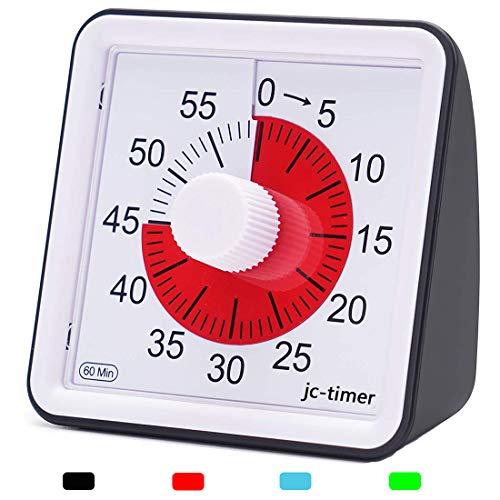 LivingHall タイマー キッチン 60分 視覚タイマー 子供と大人のためのサイレントタイマー 時間管理ツール (ブラック, 7.8cmX7.8cmX4cm)