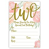 Watercolor Floral Girl 2nd Birthday Invitations - Fill in Style (20 Count) with Envelopes
