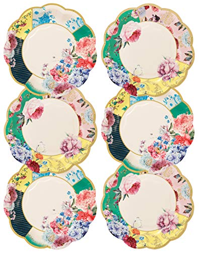 Talking Tables Pack of 12 Size 18cm Decorations Truly Scrumptious Vintage Floral Small Paper Plates for Afternoon Tea Party Birthday Wedding Anniversary Baby Shower