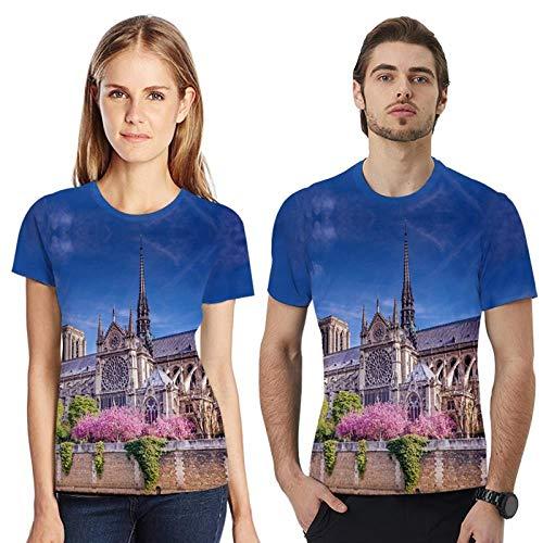 T-Shirt Rundhalsausschnitt, Oberteil Für Paare, Geeignet Für Männer Und Frauen, Geeignet Für Straße, Urlaub, Party, 3D-Pariser Architekturmuster, XL