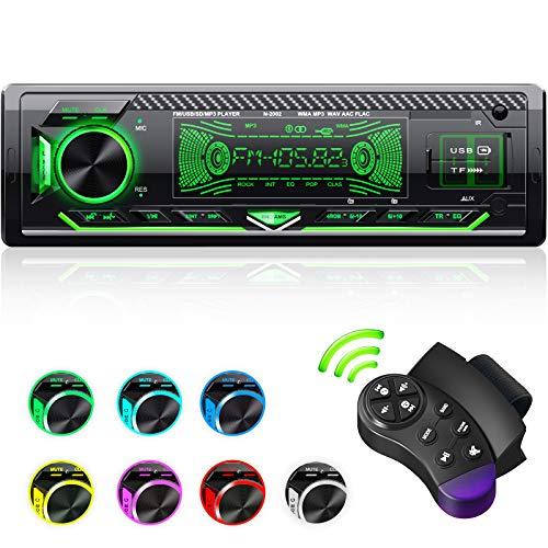 CENXINY Autoradio Bluetooth Vivavoce,1 Din Universale Autoradio Microfono Integrato Bluetooth 5.0, Ricevitore Autoradio 4X65W, Lettore Multimediale USB/TF/FM/AUX/WMA/WAV/MP3 con 7 Luci Colorate