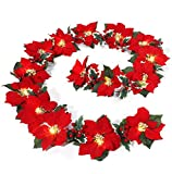 MAOYUE Christmas Decorations 12ft 15 LED Lighted Christmas Garland Poinsettia Christmas Decorations Battery Operated Garlands with 8 Lighting Modes Christmas Decorations for Outdoor, Indoor, Mantel