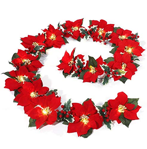MAOYUE Christmas Decorations 8.9 ft 15 LED Lighted Christmas Garland Poinsettia Christmas Decorations Battery Operated Garlands with 8 Lighting Modes Christmas Decorations for Outdoor, Indoor, Mantel