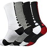 DRASEX Men's Sports Crew Socks Cushioned Athletic Socks 4-Pack Elite Basketball Socks Thick Outdoor Socks