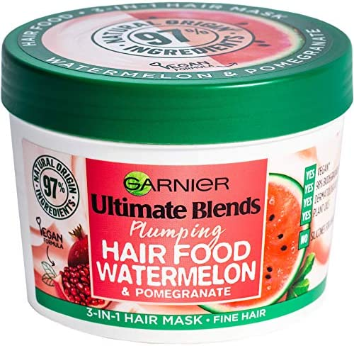 Garnier Ultimate Blends Plumping Hair Food Watermelon 3 In 1 Fine Hair Mask Treatment 390Ml product image
