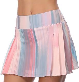 RainbowTree Women's Tennis Skirt Golf Skort Pleated with Side Inner Pockets Indoor Exercise,Runs Small