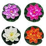 Kacniohen Artificial Lotus, Nenúfar Espuma Flor de Loto Artificial Realista Lotus Flor Flotante para la decoración de 4pcs Estanque de Agua de la Piscina del Acuario