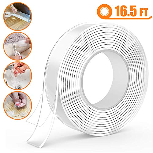 Heavy Duty Double Sided Tape - Replacement Adhesive Tape 1.18 in x 16.5 ft, Removable Traceless Washable Clear Nano Gel Grip Sticky Adhesive Tape for Carpet Under Couch Toy Blocker Gap Bumper