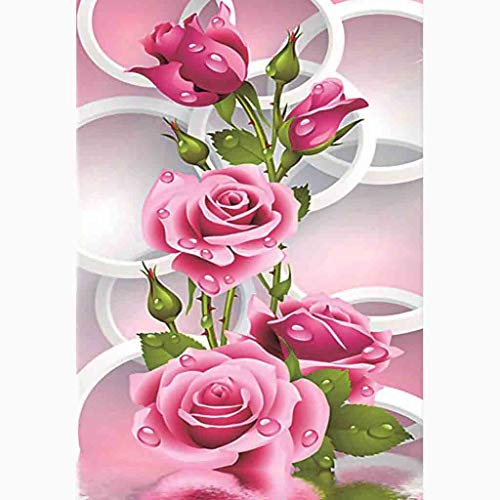 DIY 5D Diamond Painting Tool Kit Full Diamond White Rose Flower Adult Diamond Painting Package,Rhinestone Embroidery with Diamonds, Home Wall Decoration Gifts (40X30cm)