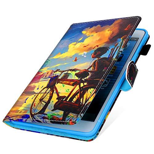 MoreChioce kompatibel mit Samsung Galaxy Tab A 10.1 Hülle,Dünn Radfahrender Junge Muster Ledertasche Schutzhülle Smart Cover Stand Flip Tablet Case Magnétique für Galaxy Tab A 10.1 T580 T585