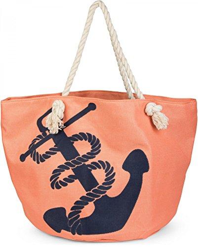 styleBREAKER Strandtasche in Flechtoptik mit Anker Print und Reißverschluss, Shopper, Badetasche, Damen 02012077, Farbe:Apricot-Blau