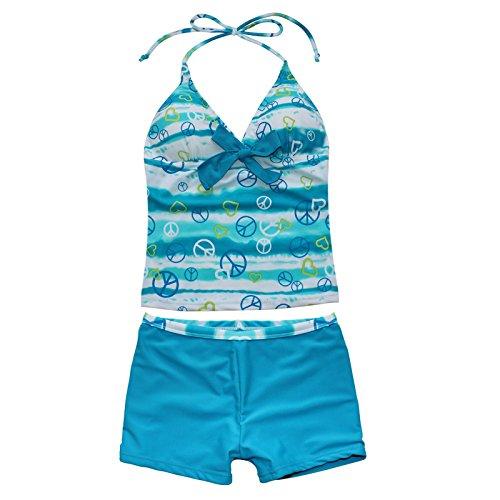 iEFiEL Big Girls Youth Peace Signs Heart Print 2 Piece Tankini Swimwear Swimsuit Sea Blue Size 10