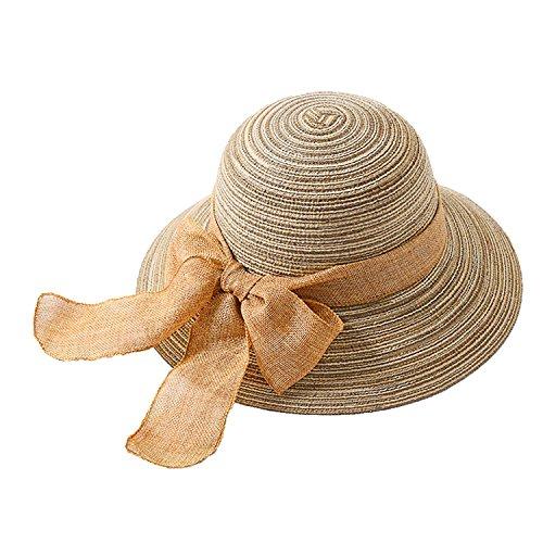 AfinderDE Sommer Strohhut Damenhut Fischerhut Sonnenhut Strandhut Sommerhut Frauen Anti-UV Hut Outdoor breite Krempe Mütze
