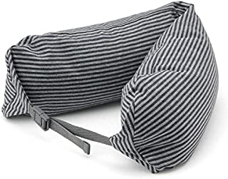 Muji Well-fitted (Microbead) Travel Neck Pillow Cushion, Navy And Gray Stripe