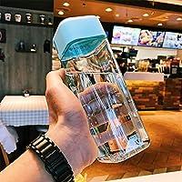 RLYBDL スクエアプラスチック水が漏れないアウトドアスポーツ旅行キャンプは、学校カップボトルポータブル透明なボトルフルーツジュースボトル (Capacity : 600ml, 色 : Blue (lan se))