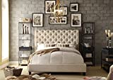 Rosevera Jenner Upholstered Bed Frame with Rolled-Back Headboard and Wood Slat Support, Low Profile, Easy Assembly, Queen, Beige