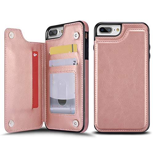 UEEBAI Case for iPhone 7 iPhone 8,Luxury PU Leather Case with [Two Magnetic Clasp] [Card Slots] Stand Function Durable Shockproof Soft TPU Case Back Wallet Flip Cover for iPhone 7/iPhone 8 -Rose Gold