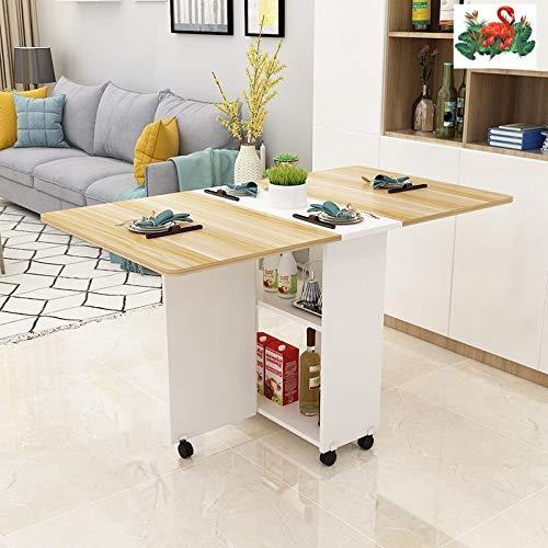 TONINI Mesa de Comedor Plegable, versátil Cena Mesa con 6 Ruedas y 2 Bastidores de Almacenamiento, Ahorro de Espacio Extensible Mesa de la Cocina (Color : Wood Color)