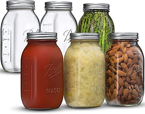 Ball Regular Mouth Mason Jar 32 oz [6 Pack] Glass Mason Jars With Airtight lids and Bands