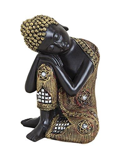 Schwarz-goldfarbene Buddha-Figur 17cm als Deko-Artikel für Haus & Garten | wetterfeste meditierende Buddha-Statue | moderne Deko-Skulptur als Wohn-Accessoire | ideal als Geschenk-Idee für Asien-Fans
