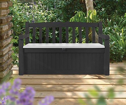 Koll Living Garden Gartenbank mit 265 Liter Stauraum - mit Verschlussmöglichkeit - Moderne Holzoptik aus wetterfestem Polypropylen Kunststoff - Deckel belastbar bis 350 kg (Anthrazit) - 4